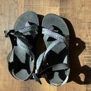 Purple and Teal Chacos